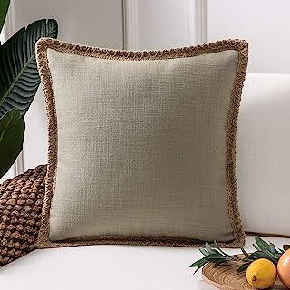 Best Phantoscope Farmhouse Decorative Throw Pillow Cover Burlap Linen Trimmed Tailored Edges Outdoor Pillow Beige 18 x 18 inches, 45 x 45 cm Review