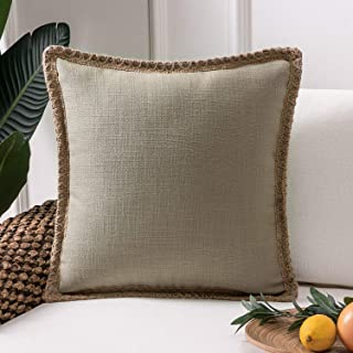 Phantoscope Farmhouse Burlap Linen Trimmed Tailored Edges Throw Pillow Case Cushion Covers Beige 22 x 22 inches 55 x 55 cm