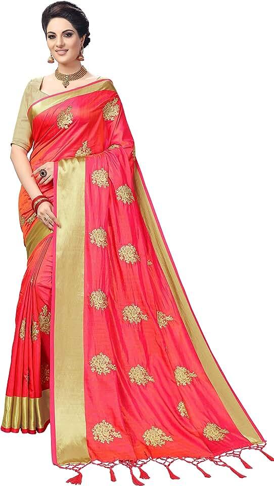 Indian Nivah Fashion Women's Woven Silk Blend Saree With Blouse Piece Saree
