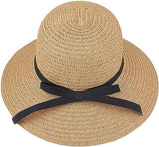 النساء السيدات سترو الشمس قناع قبعة واسعة حافة طوي الصيف شاطئ كاب 56-58 سم، القهوة الخفيفة