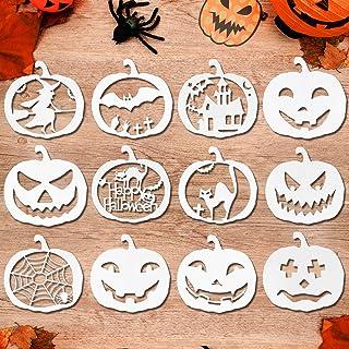 HOWAF 12 Pcs Halloween Pochoir Kit de Dessin Au Pochoir en Plastique Réutilisable, sorcière araignée Citrouille Sculpture ...