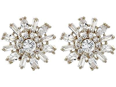 Nina Geo Floral Stud Earrings (Gold/White CZ) Earring