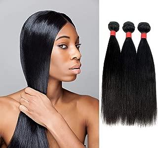 ADELA HAIR 9A Brazilian Remy 100% Unprocessed Virgin Human Hair Straight Bundles Extensions 3-Pack (10