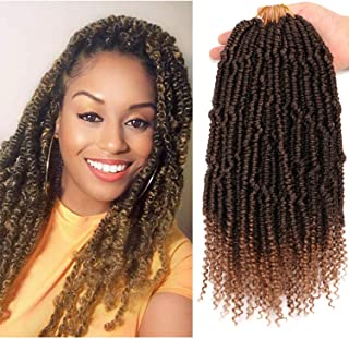 8 Small Bundles 12 Inch Senegalese Spring Twist Hair Crochet Hair With curly Ends Bounce Synthetic Braiding Hair Crochet Braids Hair Passion Twsit Hair(T27#)