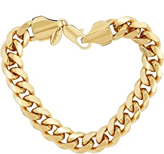 LIFETIME JEWELRY 11mm Cuban Link Chain Bracelet for Men & Women 24k Gold Plated with Free Lifetime Replacement Guarantee
