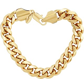 Gold Bracelet for Men and Teen [ 11mm Cuban Link Chain ] up to 20X More Real 24k Plating Than Other Miami Curb Link Bracelets - Lifetime Replacement Guarantee 8 9 and 10 inches