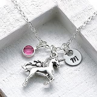 Unicorn Necklace - Unicorn Jewelry for Girls - Unicorn Lovers - Personalized Initial & Birthstone