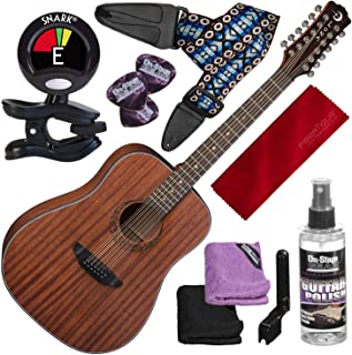 Luna Gypsy Dreadnought 12-String Mahogany Acoustic Guitar with Clip-On Tuner and Basic