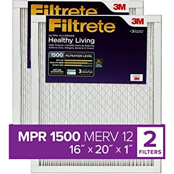 Filtrete 16x20x1, AC Furnace Air Filter, MPR 1500, Healthy Living Ultra Allergen, 2-Pack (exact dimensions 15.69 x 19.81 x 0.78)