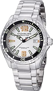 Stuhrling Original Men's 382.33112 Prestige Swiss Regatta Captain Quartz Diver Date Silver Dial Watch