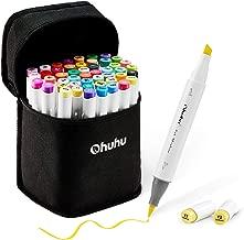 Ohuhu イラストマーカー 筆先 48色 ブレンダーペン付き マーカーペン ふでタイプ 筆・太字 両用 鮮やか 手帳 イラスト 色塗り 塗る絵 カード