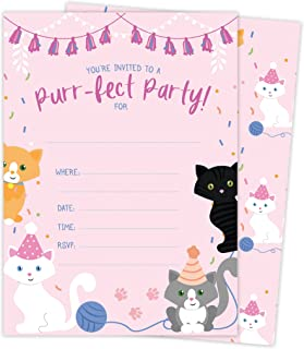 Cat Kitten Kitty Happy Birthday Invitations Invite Cards (25 Count) with Envelopes & Seal Stickers Boys Girls Kids Party (25ct)