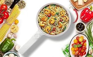 Food Party 1.5 Quarts Electric Express Cooker   College Dorm Room Essentials   Hot Pot, Ramen Cooker, Rapid Noodles Cooker, Mini Pot for Steak, Egg, Fried Rice, Oatmeal, Soup with Temperature Control