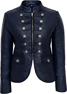 7174ff9d9a20d Victory Ladies Navy Blue Military Parade Style Soft Real Nappa Leather  Jacket 8976