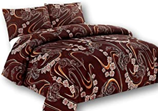 Tache Gold Paisley Brown Floral Duvet Cover - Melted Gold Chocolate Brown - Luxurious Microfiber Duvet Cover with Zipper and Security Ties/Ribbons - 3 Piece Set - King