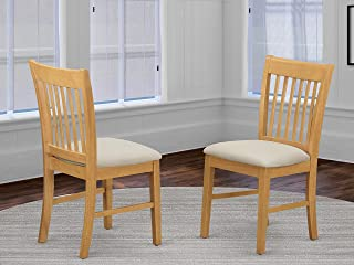 East West Furniture Kitchen/Dining Chair Set with Cushion Seat, Oak Finish, Set of 2