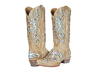 Roper Day Dreamer (Waxy Tan Leather/Sequin Underlay) Cowboy Boots