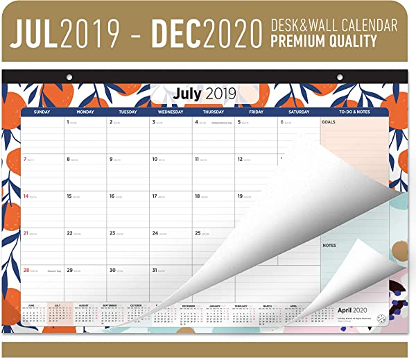 Oriday Academic Desk Calendar 2019 2020 Monthly Wall Desk Pad Calendar Daily Planner To Do List Notepad 18 Months July 2019 Through December 2020 17 X 11