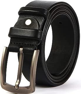 Men's Heavy Duty Leather Belt 100% Full-Grain Solid Belts for Men Durable-Strong