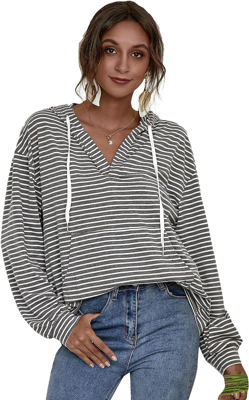 Verdusa Women's Kangaroo Pocket Striped V Neck Drawstring Hoodie Sweatshirt
