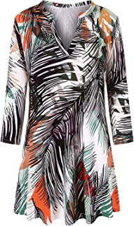 Misheep Women V Neck Pleated Loose Fit Floral Printed Loose Blouse Tunic Shirt