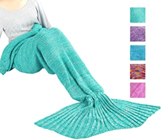 Maxchange Mermaid Blanket, Handmade High Density Crochet Mermaid Tail Blanket,Recommend Adult Size for Who is Over 5 Feet, Soft and Warm Gift for Girl, Girlfriend and Daughter