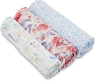 aden + anais Silky Soft Swaddle Baby Blanket, White Label, 3-Pack, Watercolor Garden