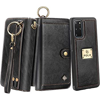 AIFENGCASE Phone Case Compatible with iPhone SE 2020,Wallet Case for Women Men Girl,Wristlets Clutch Zipper Leather Pouch Wallet Flip Phone Case Card Holder Magnetic Detachable Back Cover,Black