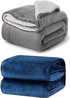 Bedsure Fleece Blanket Throw Size Navy and Sherpa Fleece Blanket Twin Size Grey