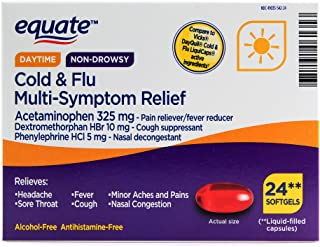Equate Daytime Non-drowsy Cold & Flu Multi-Symptom Relief, 24 Softgels (Pack of 2)