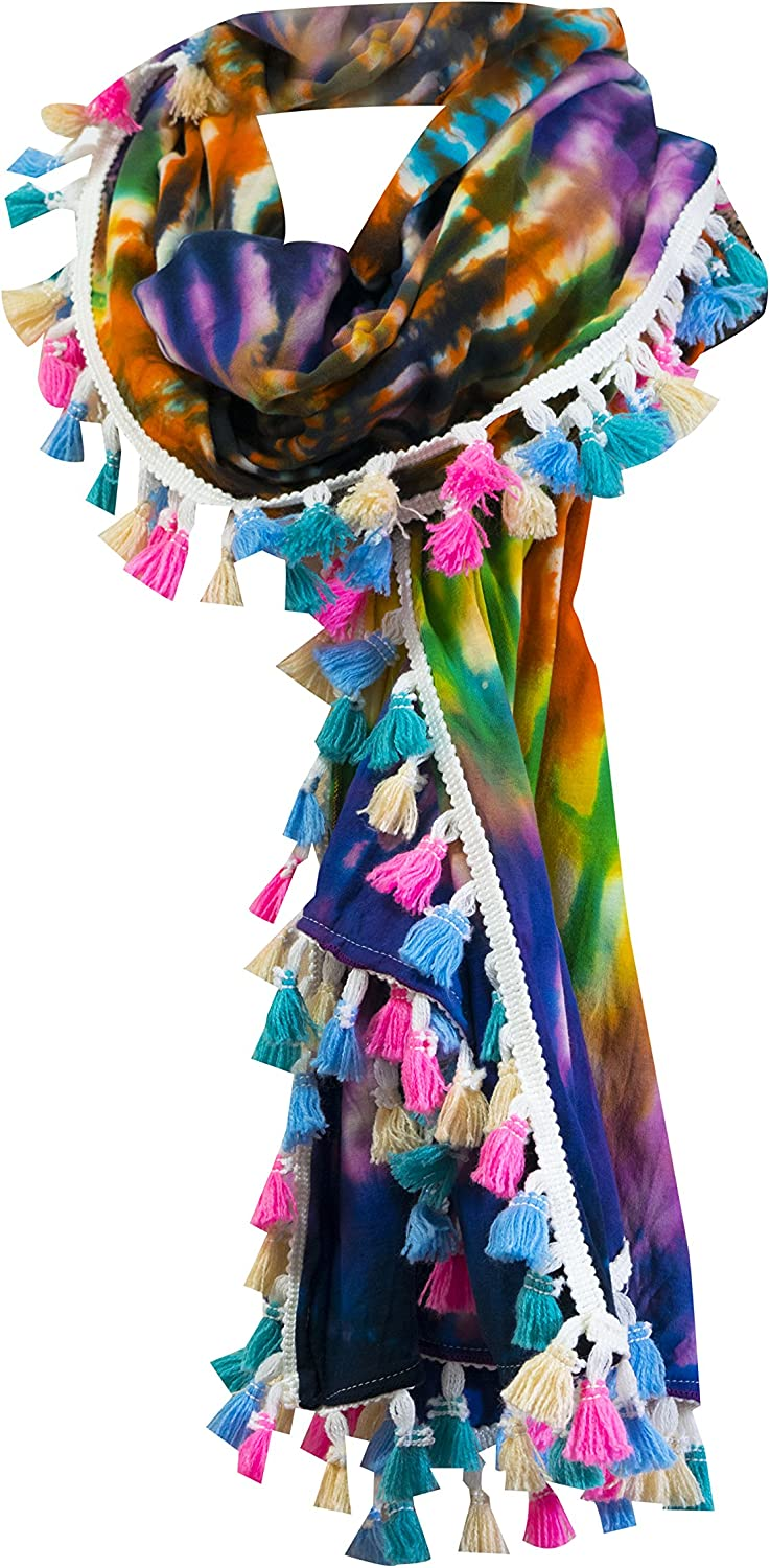 CCcollections Tie dye Several Groovy Colors 2in1 Poncho Wrap Shawl Bohemian Hippie Festival Beachwear
