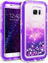 Galaxy S7 Edge Case, Dexnor Glitter 3D Bling Sparkle Flowing Liquid Case Clear 3 in 1 Shockproof TPU Silicone Core + PC Frame Case Cover for Samsung Galaxy S7 Edge - Purple