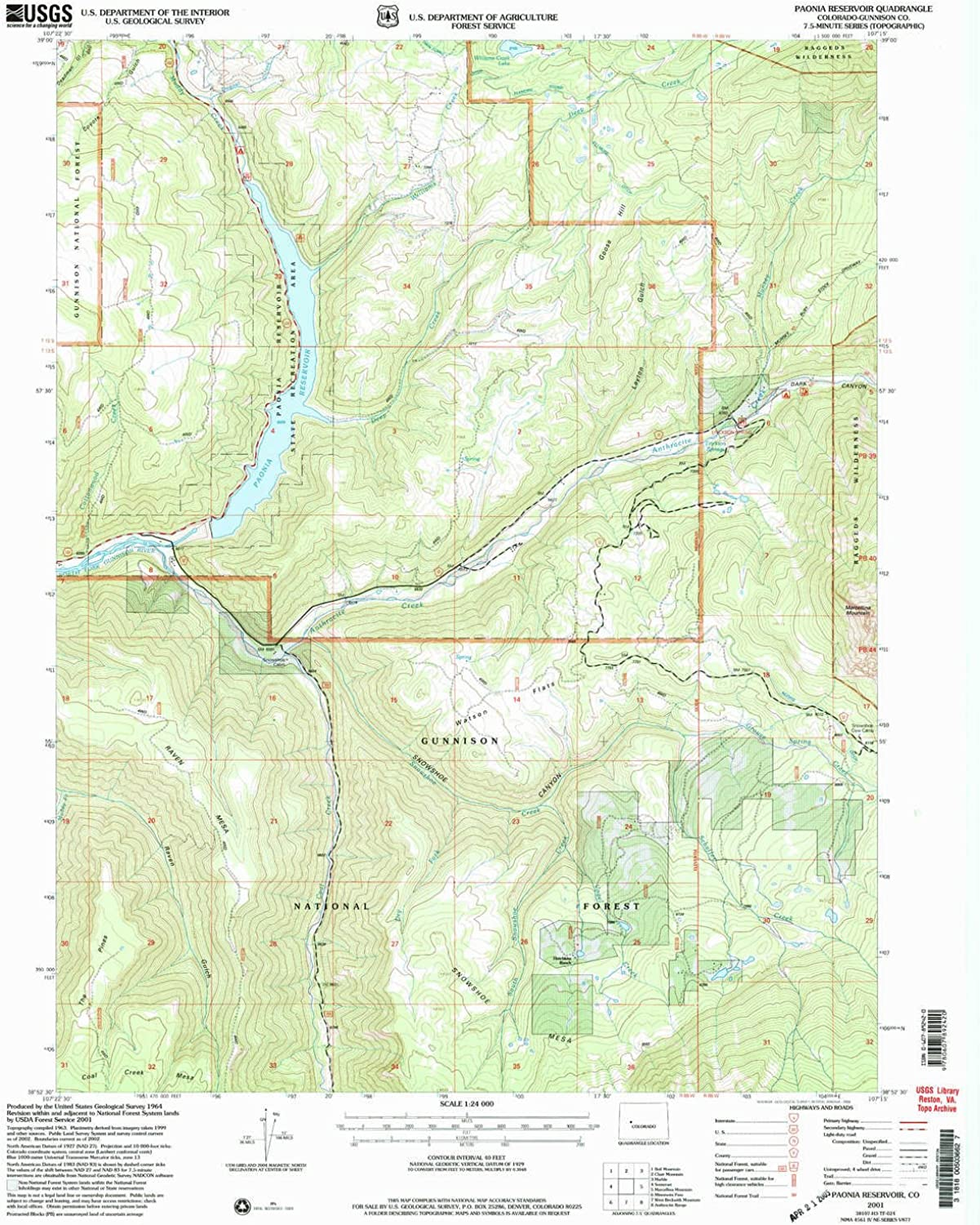Paonia Reservoir CO topo map, 1 24000 Scale, 7.5 X 7.5 Minute, Historical, 2001, Updated 2004, 26.8 x 22.1 in