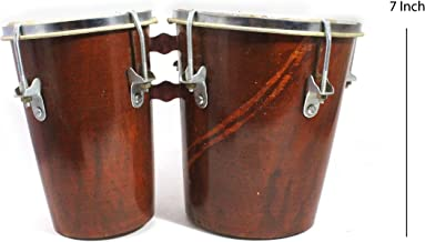 India Meets India 7 Inch Professional Two Piece Hand Made Wooden Bango Drum Set (Brown)