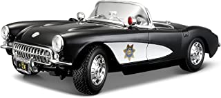 Maisto 1957 Chevy Corvette Police Diecast Vehicle (1:18 Scale)