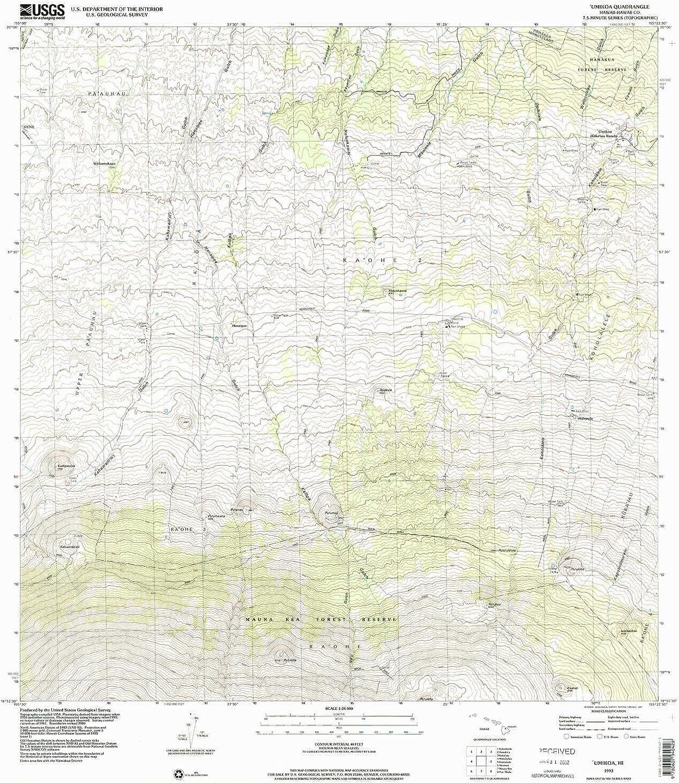 Umikoa HI topo map, 1 24000 Scale, 7.5 X 7.5 Minute, Historical, 1993, Updated 2001, 26.9 x 24 in