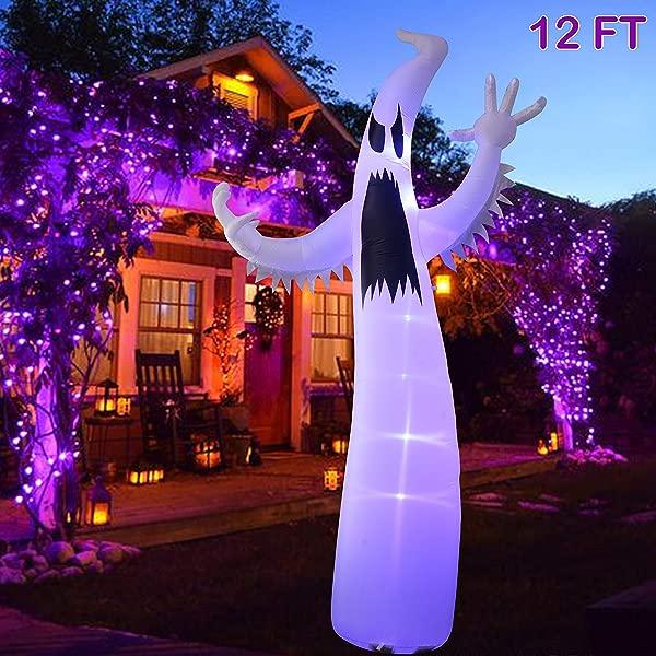 闪烁之星万圣节充气 12FT 幽灵带 led灯室内户外院子草坪派对装饰
