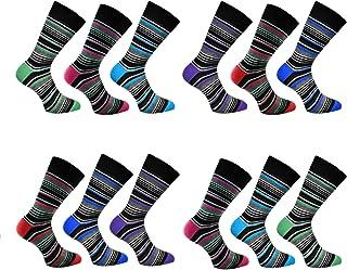 12 Pairs Mens Cotton Diabetic Soft Top Comfort Cuff Non Elastic Wide Top Socks UK 6-11
