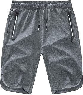 Mens Shorts Casual Comfortable Workout Shorts Drawstring Zipper Pockets Elastic Waist…