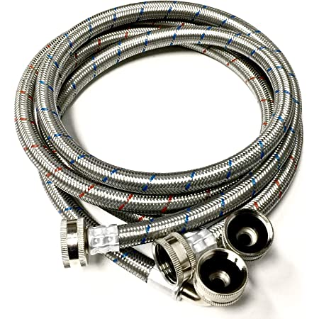2-Pack Premium Stainless Steel Washing Machine Hoses - 4 FT No-Lead Burst Proof Red and Blue Lined Water Inlet Supply Lines - Universal 90 Degree Elbow Connection - 10 Year Warranty