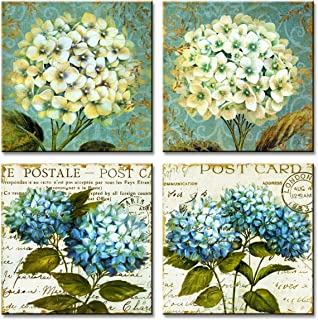 MESESE Art Canvas Prints Wall Art Blue Flower Painting Picture Prints Artwork Stretched Framed for Home Living Room Decor (Hydrangea Flower(12x12inchx4pcs))