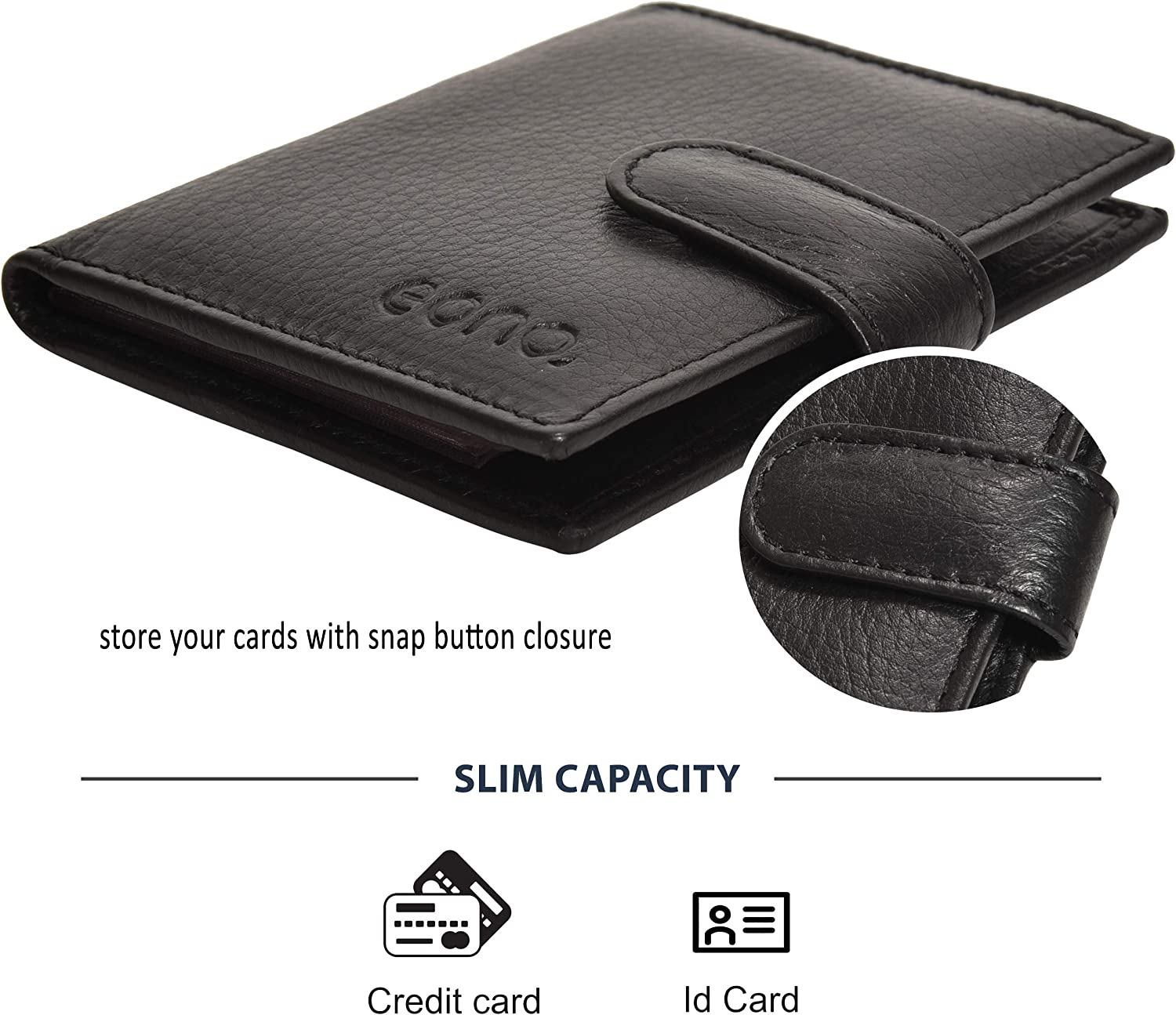 Slim Credit Card Wallet with Plastic Insert Eono by  Small Leather Wallets for Men and Women
