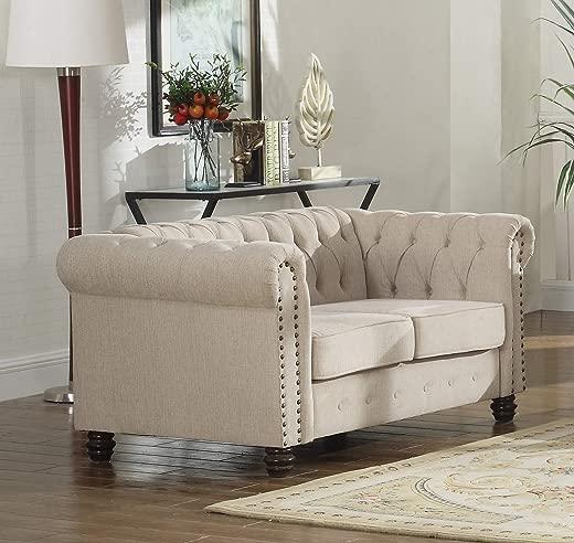 B07L74SWMK✅Best Master Furniture YS001 Venice Upholstered Loveseat, Beige