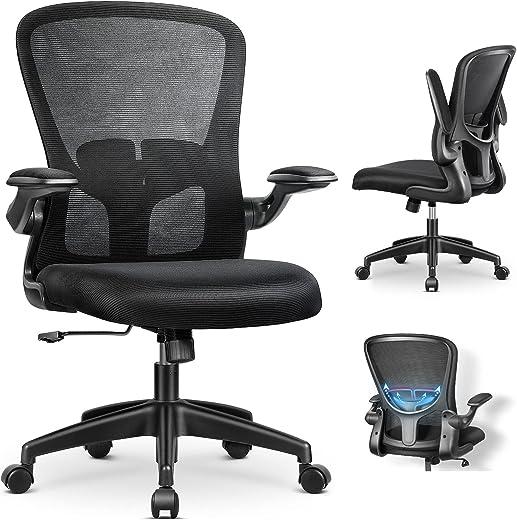MFAVOUR-Bürostuhl ergonomisch, Ergonomischer Schreibtischstuhl mit Klappbaren Armlehnen, Arbeitsstuhl mit Verstellbarer Lordosenstütze, Kopfstütze…