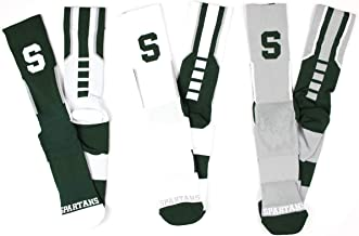 NCAA Michigan State Spartans 3 Piece Sport Performance Socks Bundle, Multicolor, One Size Fits Most
