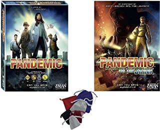 Pandemic Base Game with On The Brink Expansion Plus Storage Bags