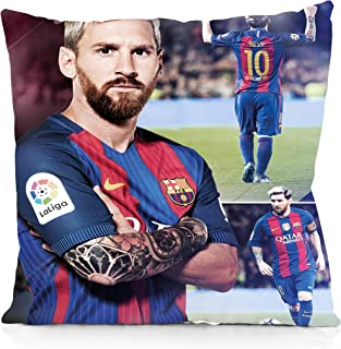 Rechzng Li FC Barcelona Lionel Messi Square Pillowcase Both Sides Print Zipper Pillow Covers 18x18 Inches