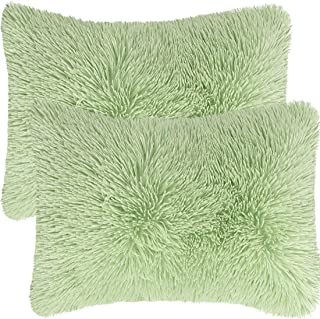PiccoCasa Pack of 2 Soft Fuzzy Faux Fur Throw Pillow Covers, Decorative Long Shaggy Cushion Covers, Soft Sofa Pillowcases ...