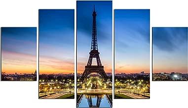 PulsatingFingertip-5 Panel Modern Paris Effiel Tower Landscape Oil Painting Picture Night Cityscape Blue Sky Wall Art Canvas Print For Home Décor No Frame