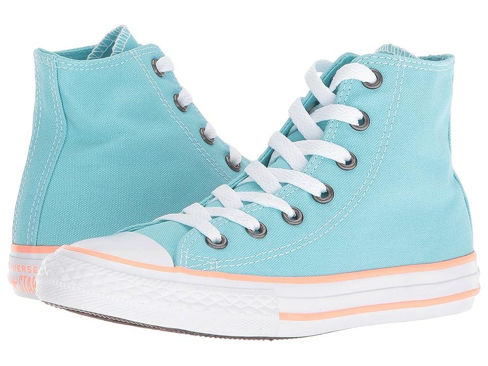 Converse Kids Chuck Taylor(r) All Star(r) Seasonal Hi (Little Kid/Big Kid) (Bleached Aqua/Crimson Pulse/White) Girls Shoes